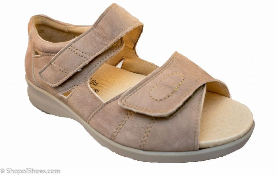 Kylie db Easy b 6E-8E EXTRA WIDE sandals in taupe beige Extra wide shoes ideal for orthotics from near Basingstoke